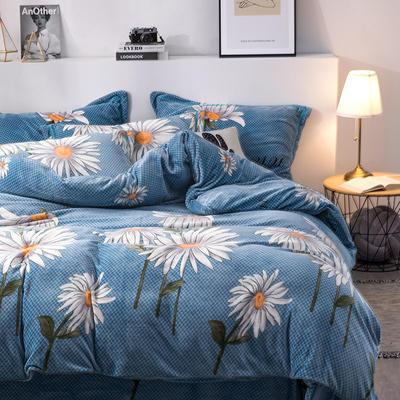 2019新款-印花牛奶绒四件套 床单款三件套1.2m(4英尺)床 向阳的春天