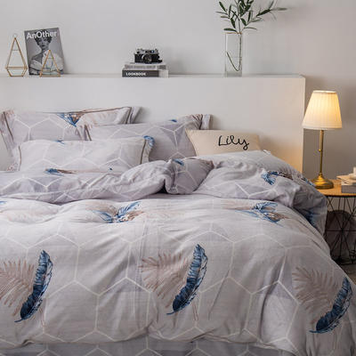 2019新款-印花牛奶绒四件套 床单款四件套1.8m(6英尺)床 叶时代