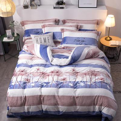 2019新款-印花牛奶绒四件套 床单款四件套1.8m(6英尺)床 自由飞翔