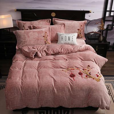 2019新款-中式绣花色织牛奶绒四件套 床单款1.8m(6英尺)床 富贵永恒-卡其