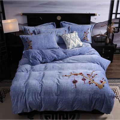 2019新款-中式绣花色织牛奶绒四件套 床单款1.8m(6英尺)床 富贵永恒-牛仔蓝