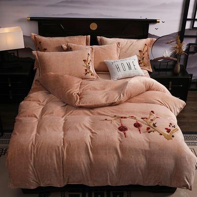2019新款-中式绣花色织牛奶绒四件套 床单款1.8m(6英尺)床 富贵永恒-驼色