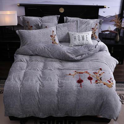 2019新款-中式绣花色织牛奶绒四件套 床单款1.8m(6英尺)床 富贵永恒-银灰