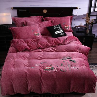 2019新款-中式绣花色织牛奶绒四件套 床单款1.8m(6英尺)床 年年有鱼-豆沙红