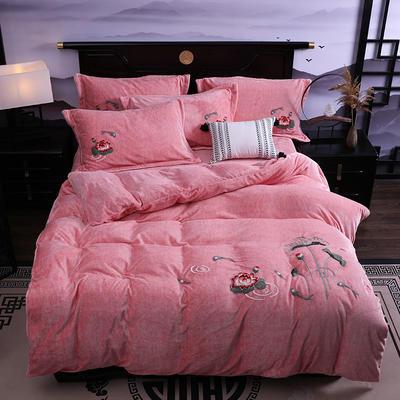 2019新款-中式绣花色织牛奶绒四件套 床单款1.8m(6英尺)床 年年有鱼-粉玉
