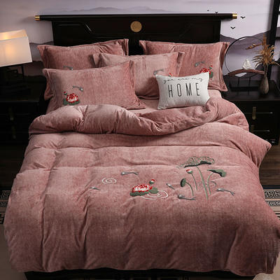 2019新款-中式绣花色织牛奶绒四件套 床单款1.8m(6英尺)床 年年有鱼-卡其
