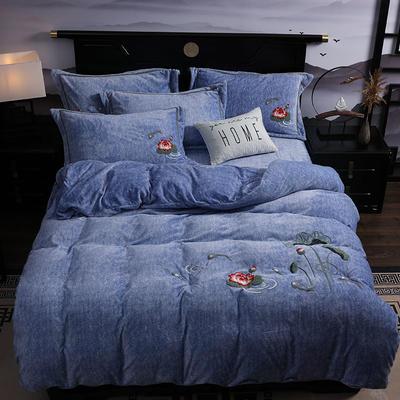 2019新款-中式绣花色织牛奶绒四件套 床单款1.8m(6英尺)床 年年有鱼-牛仔蓝