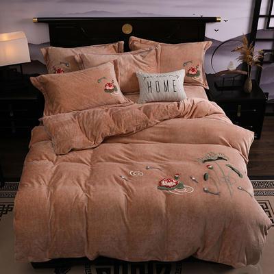 2019新款-中式绣花色织牛奶绒四件套 床单款1.8m(6英尺)床 年年有鱼-驼色