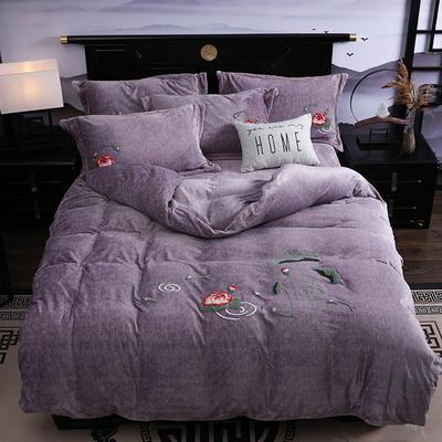 2019新款-中式绣花色织牛奶绒四件套 床单款1.5m(5英尺)床 年年有鱼-香芋色