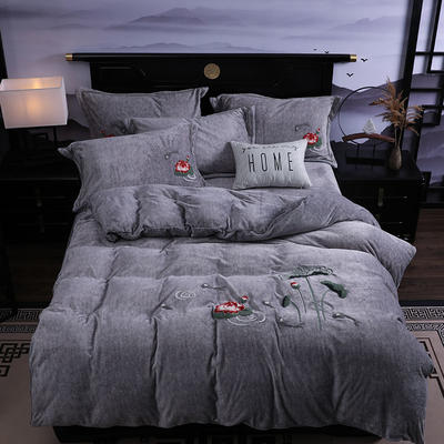 2019新款-中式绣花色织牛奶绒四件套 床单款1.8m(6英尺)床 年年有鱼-银灰
