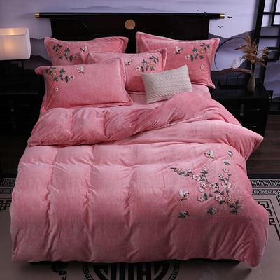 2019新款-中式绣花色织牛奶绒四件套 床单款1.8m(6英尺)床 四季如歌-粉玉