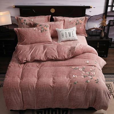2019新款-中式绣花色织牛奶绒四件套 床单款1.8m(6英尺)床 四季如歌-卡其