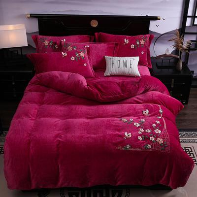 2019新款-中式绣花色织牛奶绒四件套 床单款1.8m(6英尺)床 四季如歌-靓玫红