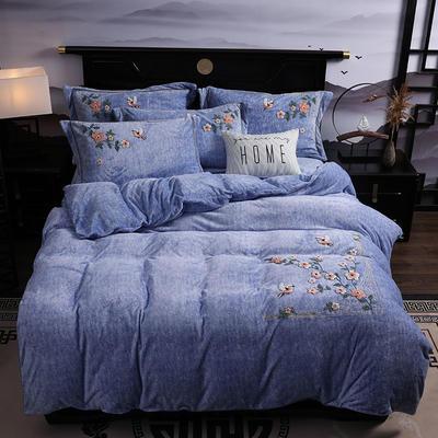2019新款-中式绣花色织牛奶绒四件套 床单款1.8m(6英尺)床 四季如歌-牛仔蓝