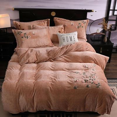 2019新款-中式绣花色织牛奶绒四件套 床单款1.8m(6英尺)床 四季如歌-驼色