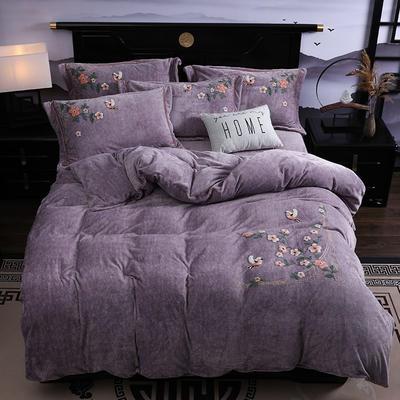2019新款-中式绣花色织牛奶绒四件套 床单款1.8m(6英尺)床 四季如歌-香芋色