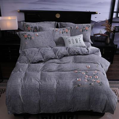 2019新款-中式绣花色织牛奶绒四件套 床单款1.8m(6英尺)床 四季如歌-银灰