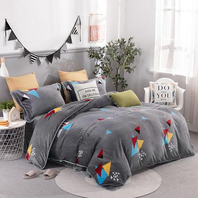 2019新款-法莱绒四件套圆角床单法兰绒 床单款1.8m(6英尺)床 几何梦想-灰
