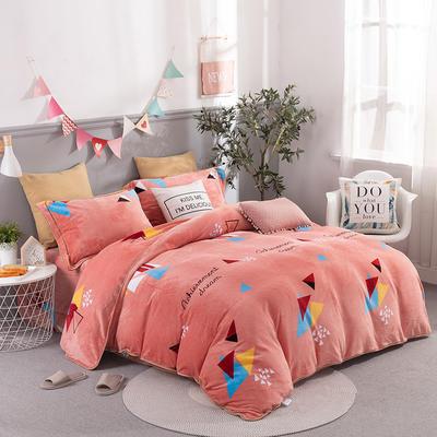2019新款-法莱绒四件套圆角床单法兰绒 床单款1.8m(6英尺)床 几何梦想-桔