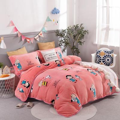 2019新款-法莱绒四件套圆角床单法兰绒 床单款1.8m(6英尺)床 快乐一家-粉