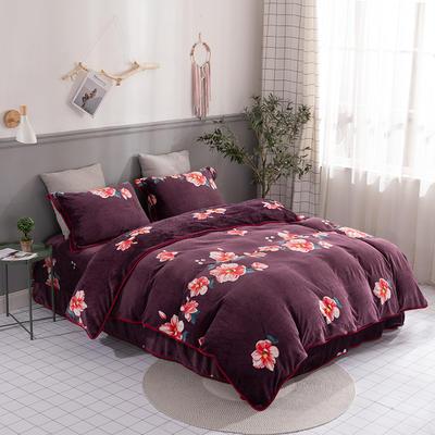 2019新款-法莱绒四件套圆角床单法兰绒 床单款1.8m(6英尺)床 曼丽花容-紫