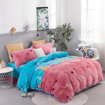 2019新款-法莱绒四件套圆角床单法兰绒 床单款1.8m(6英尺)床 小镇风情-粉