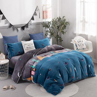 2019新款-法莱绒四件套圆角床单法兰绒 床单款1.8m(6英尺)床 小镇风情-蓝