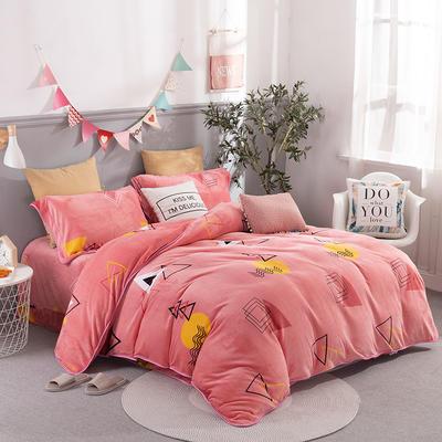2019新款-法莱绒四件套圆角床单法兰绒 床单款1.8m(6英尺)床 艺术风情-粉