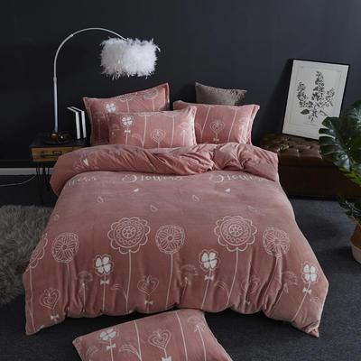 2019新款-ins牛奶绒四件套圆角床单款 床单款1.5m(5英尺)床 花样年华-红