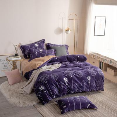2019新款-ins牛奶绒四件套圆角床单款 床单款1.8m(6英尺)床 花样年华--紫