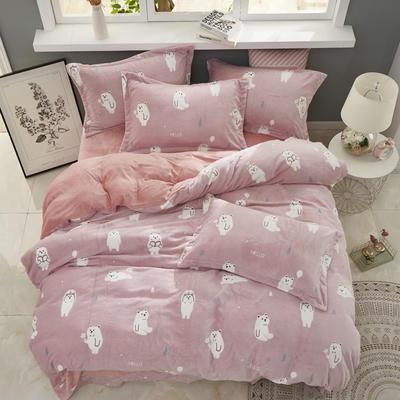 2019新款-ins牛奶绒四件套圆角床单款 床单款1.5m(5英尺)床 欢乐熊-粉