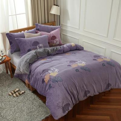 2019新款-ins牛奶绒四件套圆角床单款 床单款1.5m(5英尺)床 蕉叶-紫