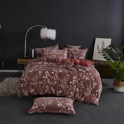 2019新款-ins牛奶绒四件套圆角床单款 床单款1.5m(5英尺)床 莱茵河畔-红