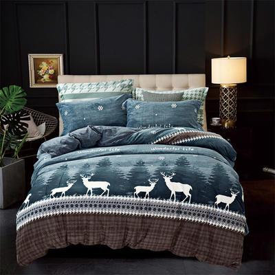 2019新款-ins牛奶绒四件套圆角床单款 床单款1.5m(5英尺)床 鹿鸣-蓝