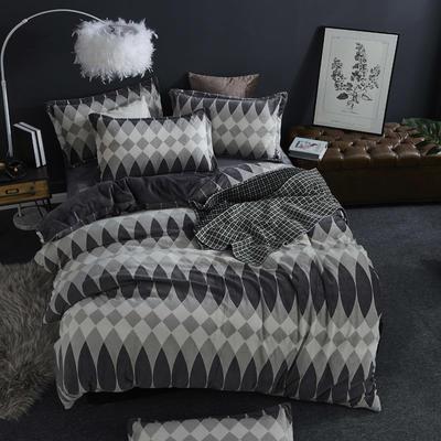 2019新款-ins牛奶绒四件套圆角床单款 床单款1.5m(5英尺)床 摩卡风情-灰