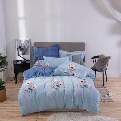 2019新款-ins牛奶绒四件套圆角床单款 床单款1.8m(6英尺)床 陌上花开-蓝
