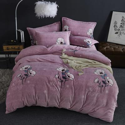 2019新款-ins牛奶绒四件套圆角床单款 床单款1.5m(5英尺)床 陌上花开--粉