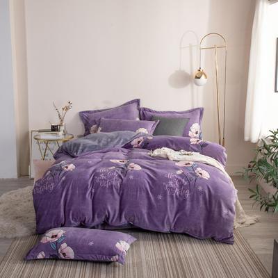 2019新款-ins牛奶绒四件套圆角床单款 床单款1.8m(6英尺)床 陌上花开-紫