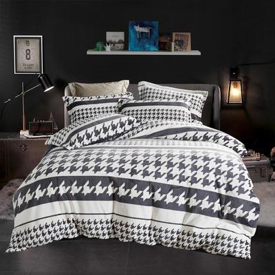 2019新款-ins牛奶绒四件套圆角床单款 床单款1.5m(5英尺)床 千鸟格-黑白