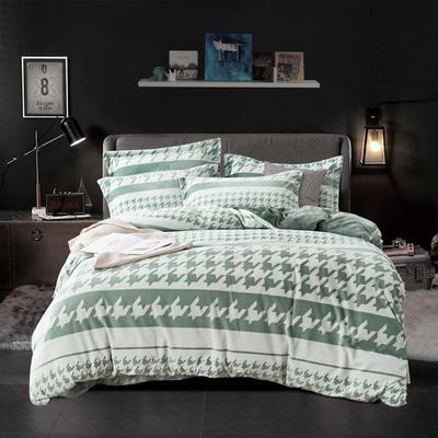 2019新款-ins牛奶绒四件套圆角床单款 床单款1.8m(6英尺)床 千鸟格-绿