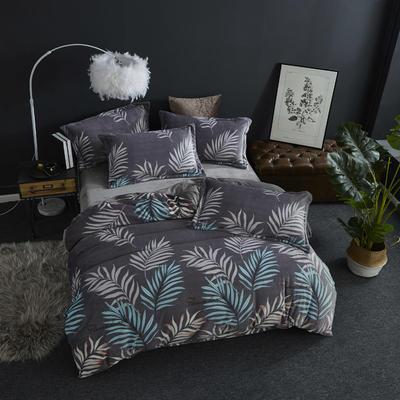 2019新款-ins牛奶绒四件套圆角床单款 床单款1.8m(6英尺)床 叶语浪漫--灰
