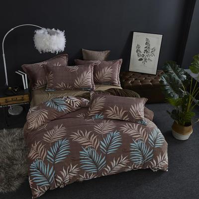 2019新款-ins牛奶绒四件套圆角床单款 床单款1.8m(6英尺)床 叶语浪漫--咖