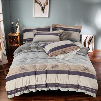 2019新款-ins牛奶绒四件套圆角床单款 床单款1.8m(6英尺)床 自然风-灰
