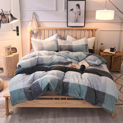 2019新款-无印良品风格牛奶绒四件套 床单款三件套1.2m(4英尺)床 大格子绿灰