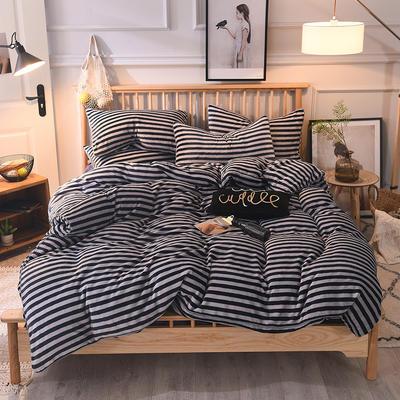 2019新款-无印良品风格牛奶绒四件套 床单款四件套1.8m(6英尺)床 细条蓝灰