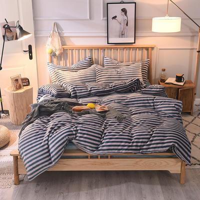 2019新款-无印良品风格牛奶绒四件套 床单款四件套1.8m(6英尺)床 细条绿灰