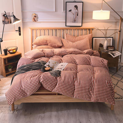 2019新款-无印良品风格牛奶绒四件套 床单款四件套1.8m(6英尺)床 小格-红