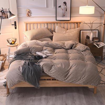 2019新款-无印良品风格牛奶绒四件套 床单款四件套1.8m(6英尺)床 小格-咖