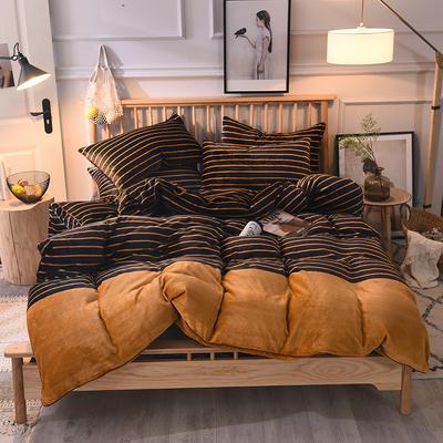 2019新款-无印良品风格牛奶绒四件套 床单款三件套1.2m(4英尺)床 英简风尚-黄