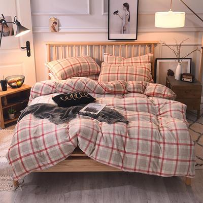 2019新款-无印良品风格牛奶绒四件套 床单款四件套1.8m(6英尺)床 英伦红